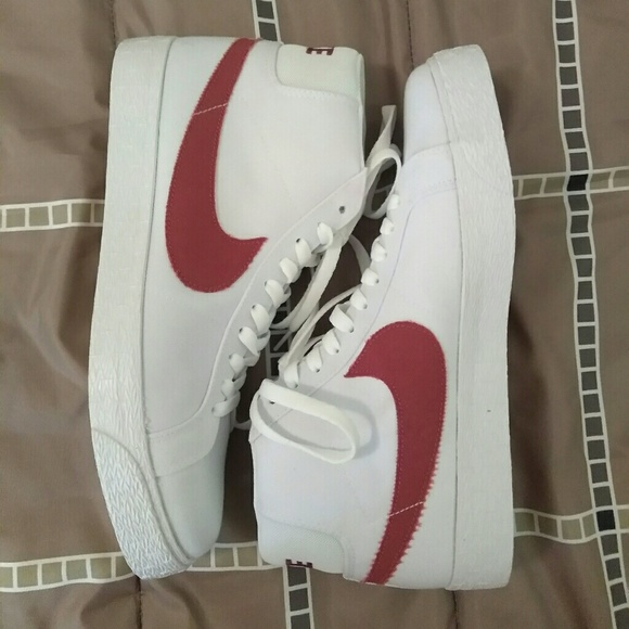 outlet store 35111 79307 Men Size 10 Nike SB Blazer Zoom Mid Canvas Red/Whi